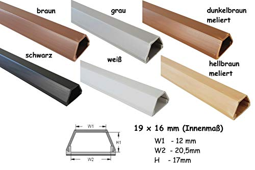 netproshop Kabelkanal 19x16mm Innenmaß PVC (Trapezförmig, Selbstklebend) (1 Meter), Farbe:Hellbraun Meliert