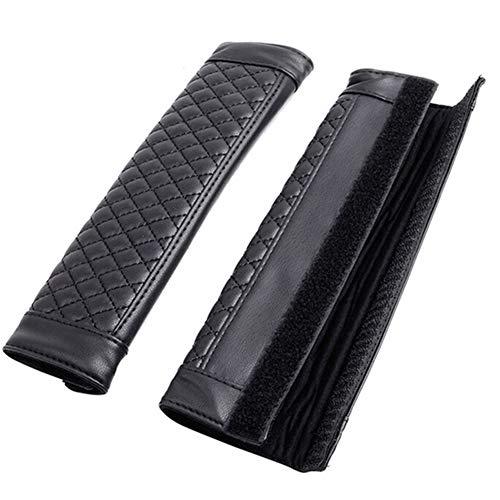 Xinlie Autogordelbekleding, zwart, leer, beschermer, veiligheidsgordel, bekleding, 23 x 6,5 cm, zitgordel voor alle auto-veiligheidsgordels of bag-riem