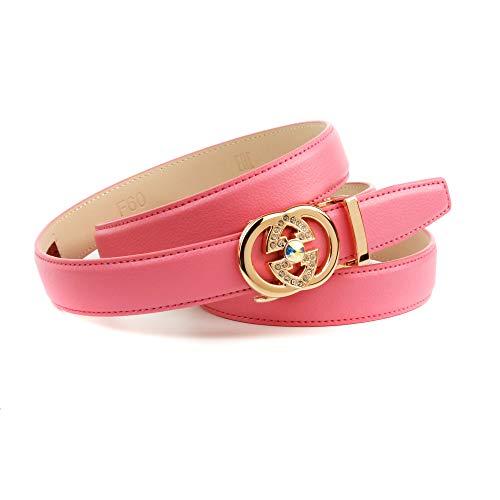 Anthoni Crown Ledergürtel Cintura, Colore: Rosa, 110 cm Donna