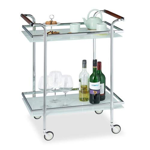 Relaxdays, Silber Servierwagen Milchglas, Servicewagen, Teewagen, mit 2 Ablagen, offen, Deluxe Rollen, HBT 85x66x43 cm