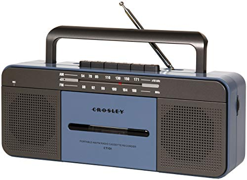 Crosley CT101A-BL Portable Bluetooth Cassette Player with AM/FM Radio, Blue