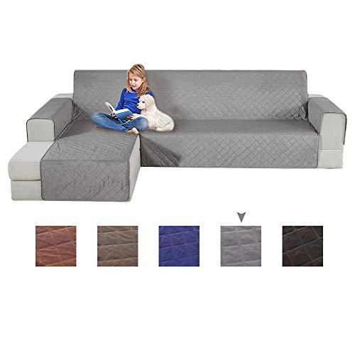 Fundas de sofá Relax Love, en forma de L, antideslizantes, seccionales, lavables, antiácaros y antiarrugas, protector de muebles con correas elásticas para mascotas y niños, Gris, 3 Seater, Left 200cm