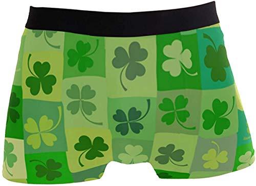 OMAJIG Herren St. Patrick's Day Lucky Kleeblatt Blumenmuster Hoher Bund Boxershorts Stretch Trunk Gr. S, einfarbig