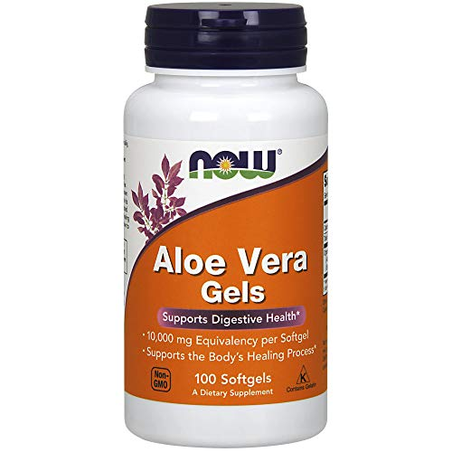NOW Supplements  Aloe Vera (Aloe barbadensis) 10 000 mg  Supports Digestive Health*  100 Softgels