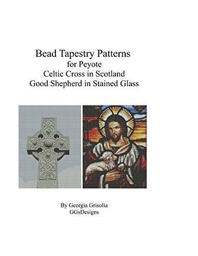 Bead Tapestry Patterns for Peyote Celtic Cross and Good Shepherd stained