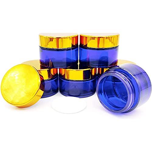 6pcs 30ml cremedose Vide, Bleu de Bouteille de Verre Bleu Vide avec Couvercle pour crèmes cosmétiques lotions huiles éthérées en Poudre