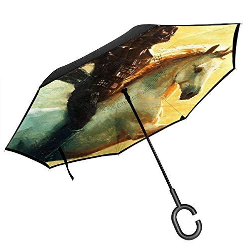 Darth Unciorn Vader Double Layer Inverted Auto Reverse Taschenschirm Winddicht UV-Schutz Großer, gerader Regenschirm für den Außenbereich