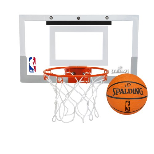 New Spalding NBA Slam Jam Over-The-Door Mini Basketball Hoop (Тwo Рack, White)