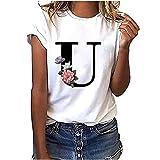 VEMOW Camiseta de Mujer Manga Corta Suelta con Cuello Redondo Talla Grande, Moda Impresión de 26 Letras Inglesas Basica Suelto Verano Camisa Tops Casual Fiesta T-Shirt para el Mejor Amigo(U,M)