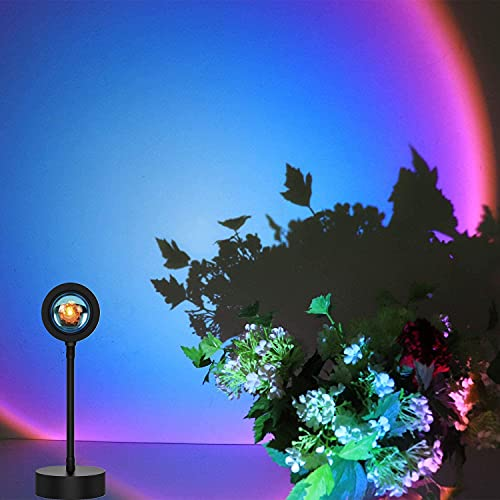 Sunset Projection Lamp Rotación de 360° Rainbow Lámpara de Noche con USB, Lámpara Romántica de Ambiente para Salón, Dormitorio, Decoración (Rainbow)