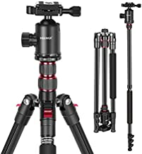 Neewer 77-Inch Tripod, Camera Tripod for DSLR, 2-in-1 Compact Aluminum Tripod Monopod with 360 Degree Ball Head, 2 Center Axis, QR Plate and 8 Kilograms Load for Travel and Work, Carry Bag Included