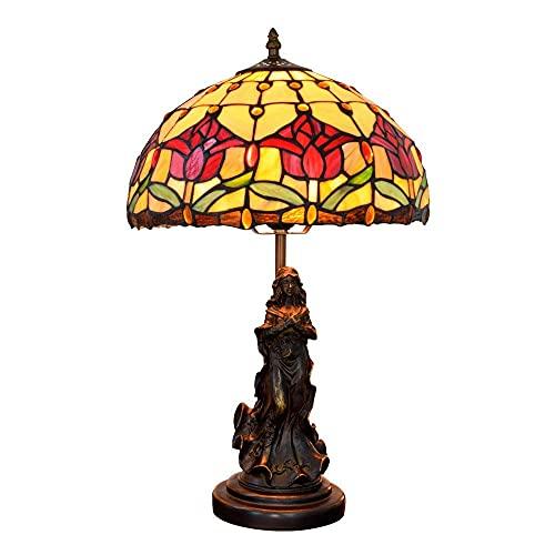 YANSJD Lámpara de Mesa de tulipán Rojo Pastoral Tiffany, lámpara de Mesa Tiffany, lámpara de Mesa mediterránea, Base de Resina, Sala de Estar Elegant