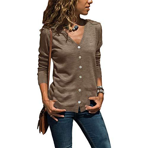 IBAKOM - Cárdigan de punto con cuello en V para mujer, manga larga, con botones en la parte delantera abierta, informal, corta túnica para primavera y verano
