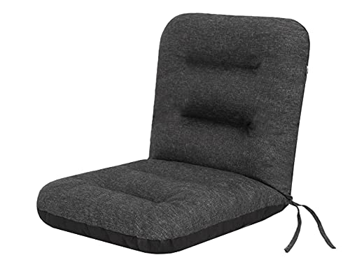 Cojín de asiento para muebles de jardín con respaldo alto – Cojín para sillón, tumbona de jardín – Dimensiones del asiento – 48 x 48 cm – Alto 48 cm – Cojín de jardín acolchado – Negro ecopiel