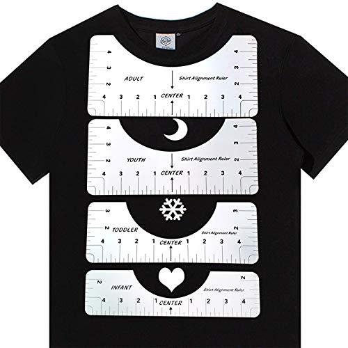 SINSEN Herramienta De Calibración De 4 Piezas, Herramienta De Alineación De Camisetas, Guía, Regla De Alineación De Camisetas De Alta Precisión, Herramienta De Calibración De Camisetas De Fine