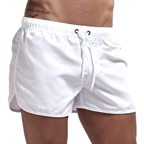 JURTEE Hombre Pantalones Cortos de Playa Secado Rápido Bañador Estampado Beach Shorts Sólido de Color Surf Cintura Elástica Deportivos Corriendo Trajes de Baño