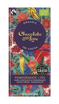 Chocolate and Love Bio Pomegranate - 70% Dark Chocolate and Pomegranate (6 x 80 gr)