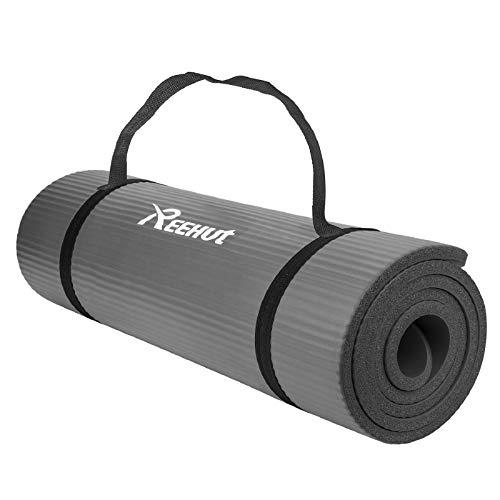 REEHUT Colchoneta de Yoga de NBR de Alta Densidad y Extra Gruesa de 12mm Diseñada para Pilates, Fitness y Entrenamiento - con Correa de Hombro 180cm x 61cm(Gris)
