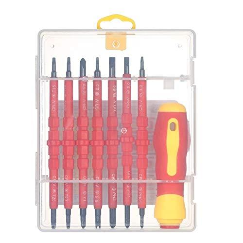 Aaren 7 en 1 Variable 1000V Aislamiento Destornilladores Phillips con magnéticos y ranurado bits de Herramientas de Electricista Kit de reparación cómoda manija Antideslizante Pesada (Color : Red)