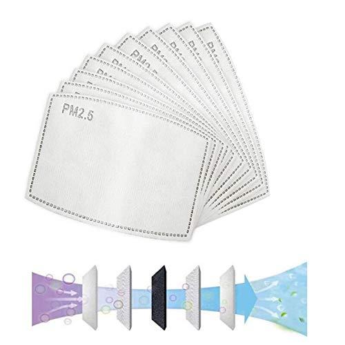 Louis EU 100PCS PM2.5, filtro de carbón activado protector de 5 capas reemplazable, papel de filtro externo antivaho, antibacteriano, antivaho, a prueba de polvo, filtro de máscara.