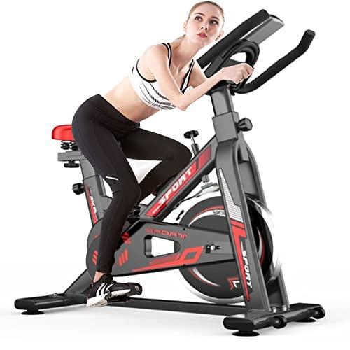 YTGH Bicicleta Estáticas para Fitness, Bici De Spinning, Calidad Profesional, Rueda De Inercia Bidireccional,Transmisión por Cadena Fija,Asiento Ajustable, Instrumento De Visualización Digital LED