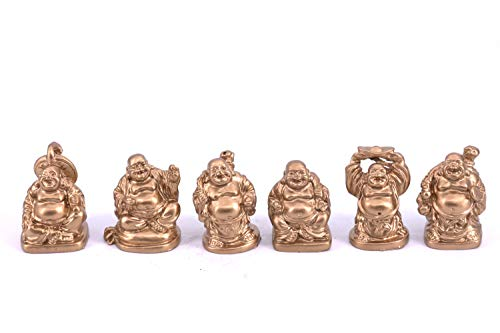 Chinese Laughing Lucky Buddha Statues, 6 Figurines Set 1' (Gold)