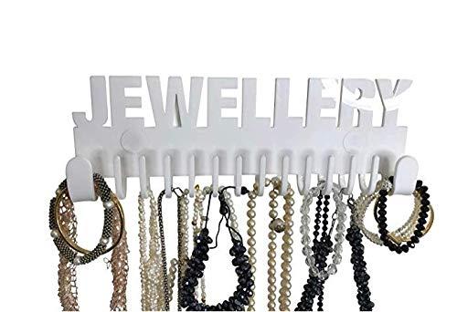 Preisvergleich Produktbild Schmuckhalter Wand Design by GALEARA Kettenhalter mit Jewelry Schriftzug Schmuckaufbewahrung (Jewellery - Weiß)