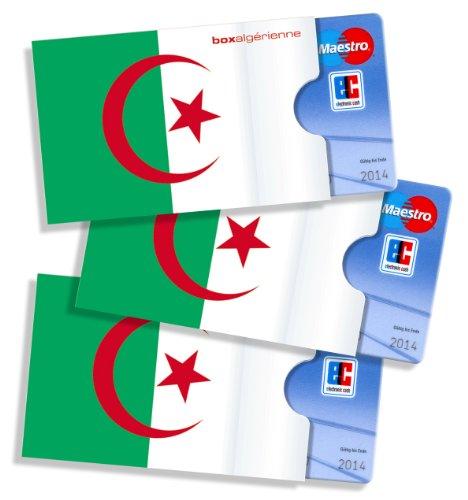 cardbox /// Motiv: Algerien Flagge/Algerische Fahne /// 3er Set /// Kartenhüllen & Ausweishüllen für Karten Aller Art im Scheckkartenformat
