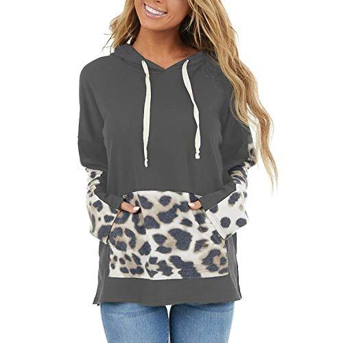 Holywim Women Tops,Fashion Casual Tunic Leopard Print Floarl Long Sleeve Pocket Color Block Drawstring Hoodie Tops Gray