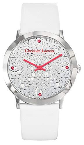 Christian lacroix Damen Uhr analog Quarzwerk mit Leder Armband CLWE14