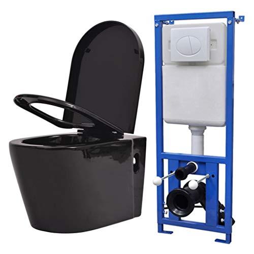 vidaXL Toilette Suspendue Murale Réservoir Caché Céramique Noir Cuvette WC