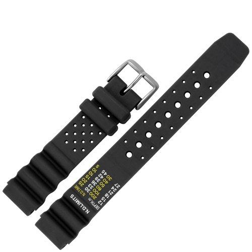 MARBURGER Uhrenarmband 20mm Kunststoff Schwarz XL - 9672010000120