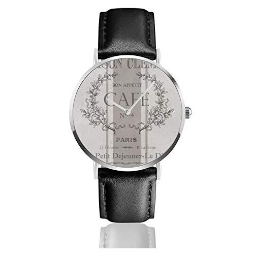 Reloj de pulsera minimalista de cuarzo moderno vintage francés café decorativo correa de cuero