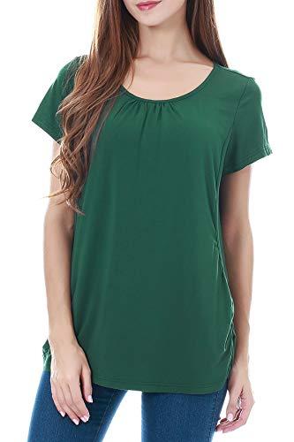 Smallshow Women's Maternity Nursing Tops Short Sleeve Modal Breastfeeding Shirt Medium Dark Green
