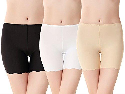 Imixcity Lot DE 3 Femme Shorts de Sécurité en Modal Soie Glacée Invisible Slip Boxer sous-Vêtements Pantalons Taille Plus - 3 Couleur - EU 40-44 (Tag XXL)