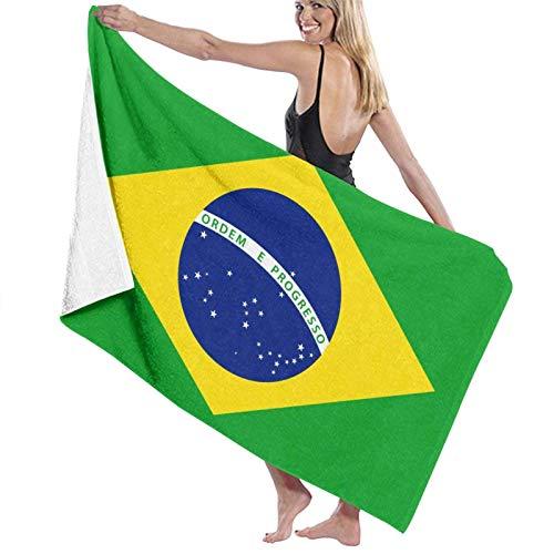 Toalla de playa de bandera de Brasil, ultra suave, muy absorbente, de secado rápido, toalla de baño y ducha, 80 x 130 cm