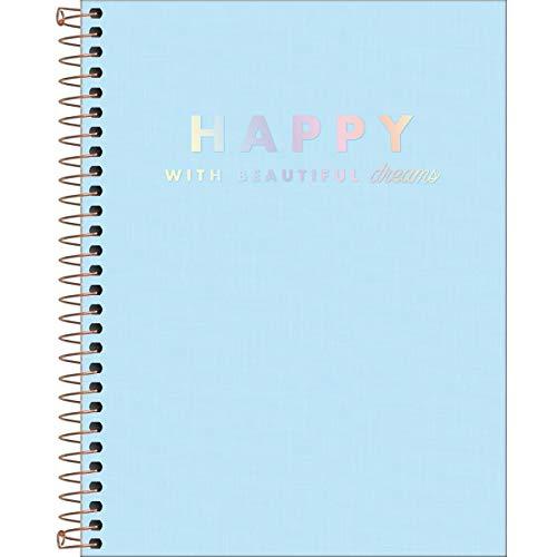 Caderno Capa Plástica Colegial 10M 160, Tilibra, Happy, Azul