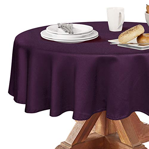 Obstal 210GSM Round Table Cloth, Water Resistance Microfiber Tablecloth, Decorative Fabric Circular Table Cover for Outdoor and Indoor Use (Purple, 70 Inch Diameter)
