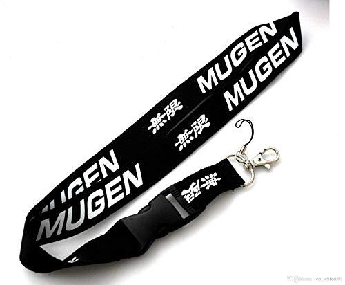 "Mugen JDM Black Car Accessory Fabric Lanyard Neck Strap Detachable Clip Black Stripe Wide 1"" for Car Key ID Card Mobile Phone Badge Holder"