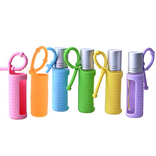 6pcs 10ml(1/3oz) Silicone Roller Bottle Holder Sleeve,Essential Oil Carrying Case Colorful Travel Protective Cover with Hanging Rope