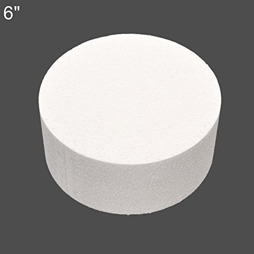 Poliestireno extruido redondo de ZHOUBA, ideal para practicar a hacer decoraciones de tartas con azúcar y flores, 10 cm, 15 cm y 20 cm, espuma, Blanco, 6 pulgadas