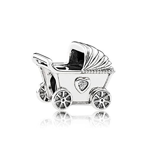 Pandora 925 colgante de plata esterlina Diy Bead Baby Stroller Charm Fit moda mujer pulsera brazalete regalo joyería