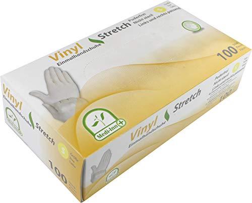 Medi-Inn Vinyl Stretch puderfrei Einmalhandschuhe Größe S | 100 Stück | Vinylhandschuhe in praktischer Spenderbox