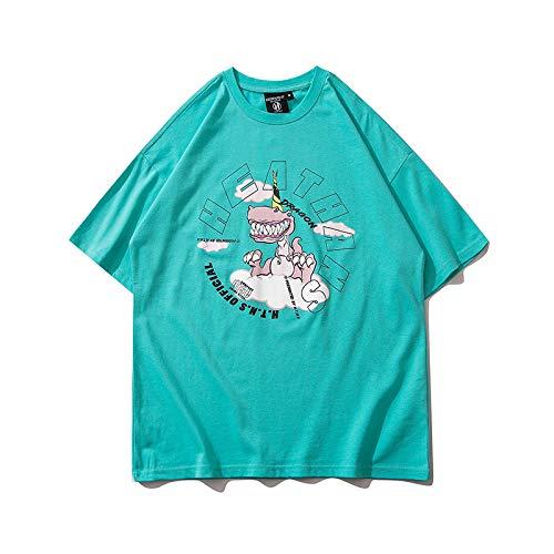 DREAMING-Sudadera De Manga Corta De Verano De Media Manga Camiseta De Algodón De Cuello Redondo con Estampado Suelto Camiseta Superior para Parejas De Hombres Y Mujeres Green X-Large