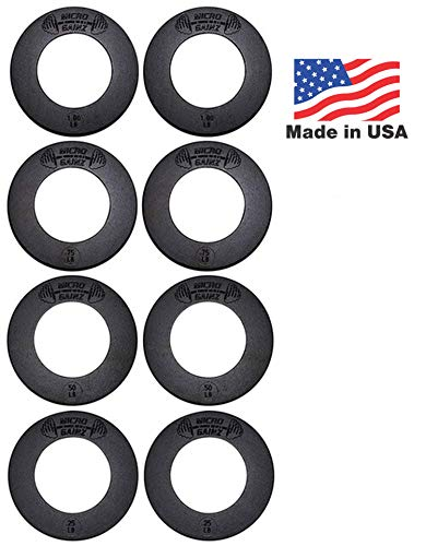 Micro Gainz Calibrated Fractional Weight Plate Set of .25LB-.50LB-.75LB-1LB Plates (8 Plate Set)- Designed for Olympic Barbells, Used for Strength Training & Micro Loading, Made in USA