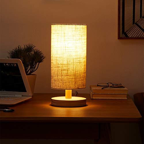 Modern Retro Creativity Lámparas de Escritorio Lámpara de Mesita de Noche Simple Base Madera Maciza Pantalla de Tela de Lino para Dormitorio Sala de Estar Oficina Moderna