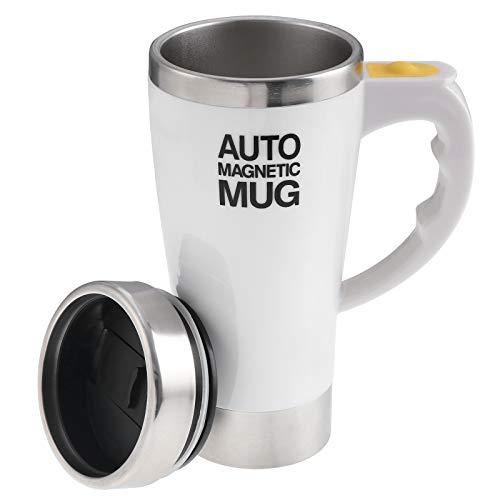TsunNee 450 ml Tazza da caffè elettrica autoagitante, in acciaio inox, per miscelazione automatica, per caffè, tè, cioccolata calda, latte e cacao, bianco