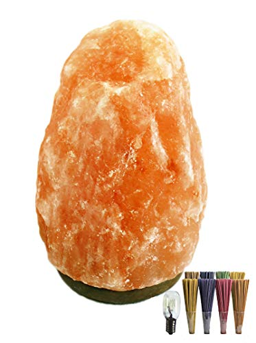 Lámpara de Sal Natural del Himalaya 3.5-4 kg, Piedras Naturales 100% con Bombilla + Pack 20 Inciensos de Regalo