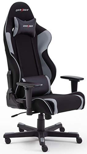 Robas Lund DX Racer OH/RW86/NG R2 Gaming Stuhl XXl für Große Gamer bestens geeignet, mit Wippfunktion Gamer Stuhl Höhenverstellbarer Drehstuhl PC Stuhl Ergonomischer Chefsessel, schwarz-grau