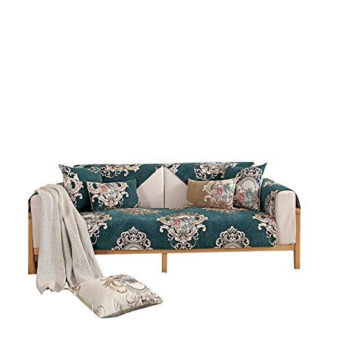 Funda de sofá Antideslizante Jacquard de Chenilla de Alta Gama,Protector de Muebles,Funda de sofá Resistente a Las Manchas,Verde,Funda de Almohada de 45x45 cm